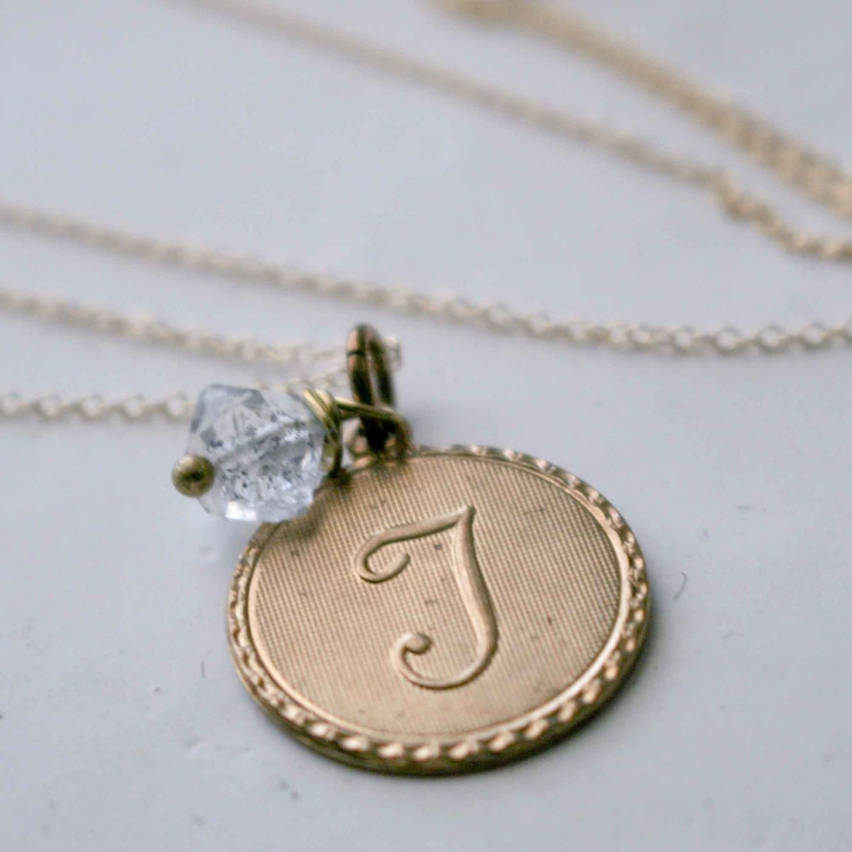 Uppercase Cursive Initial Monogram Letter Round Disc Charm Necklace Regarding Most Up To Date Letter H Alphabet Locket Element Necklaces (Gallery 22 of 25)