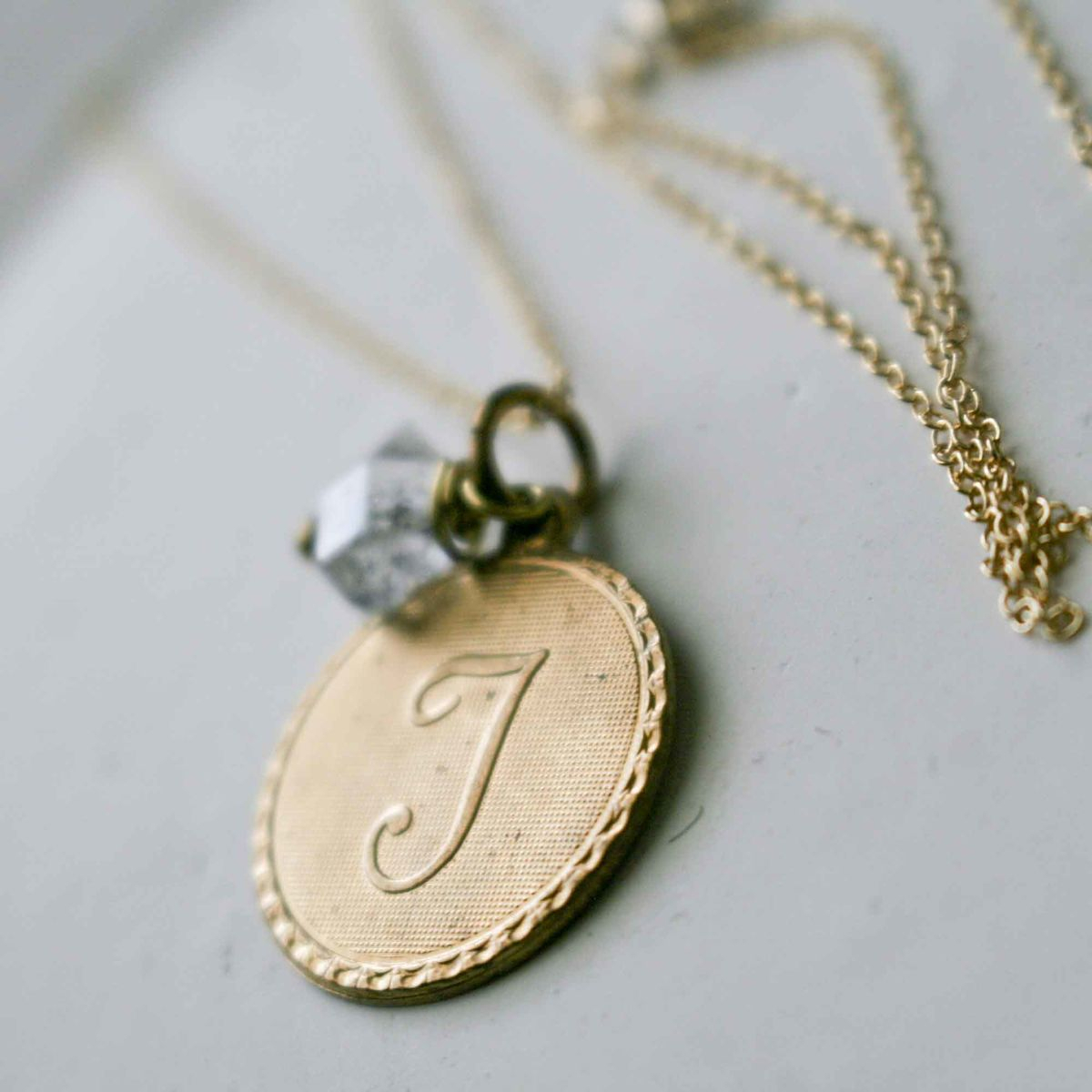 Uppercase Cursive Initial Monogram Letter Round Disc Charm Necklace With Newest Letter J Alphabet Locket Element Necklaces (View 25 of 25)