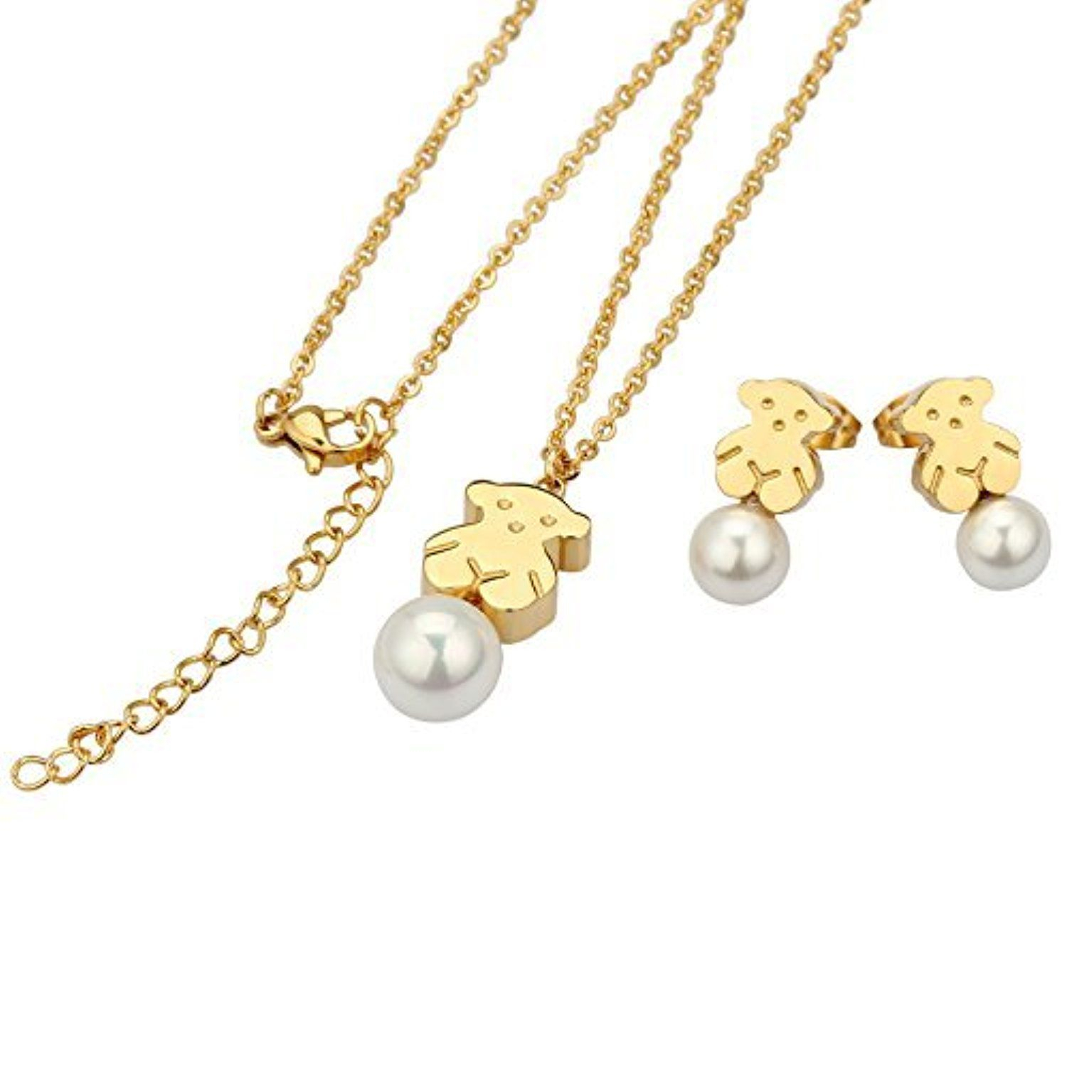 Urs 18K Gold Plated Stainless Steel Women's Teddy Bear Necklace In Current Theodore Bear Pendant Necklaces (Gallery 24 of 25)