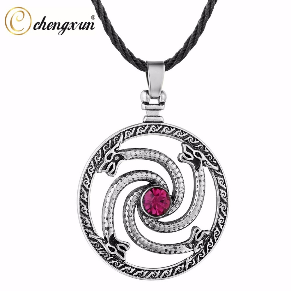 Us $0.79 78% Off|Chengxun Men Vintage Jewelry Gothic Necklace Circle Dragon  Original Animal Viking Runes Pendant Red Cz Fashion Collier For Gift In Intended For Recent Vintage Circle Collier Necklaces (Gallery 2 of 25)