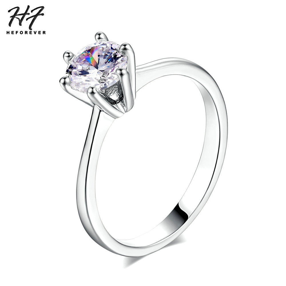 Us $0.88 40% Off|Sliver Color Classic Simple Design 6 Prong Sparkling  Solitaire 1Ct Zirconia Forever Wedding Ring Bijoux R013 In Wedding Bands  From Regarding Most Popular Simple Sparkling Band Rings (Gallery 14 of 25)