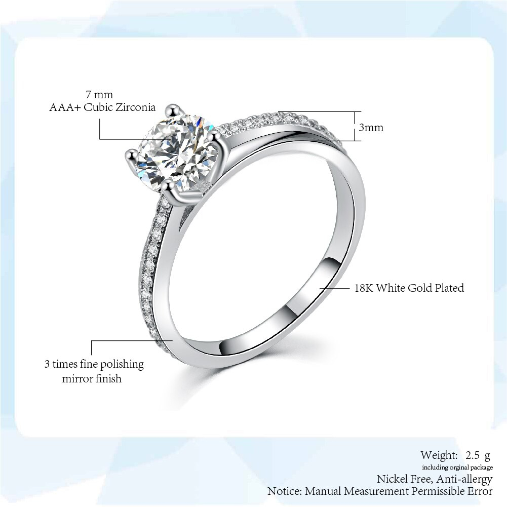 Us $1.13 42% Off|Sliver Color Classic Simple Design 4 Prong Sparkling  Solitaire 1Ct Zirconia Crystal Forever Wedding Ring Bijoux R486 In Wedding  Bands With Regard To Most Popular Simple Sparkling Band Rings (Gallery 6 of 25)