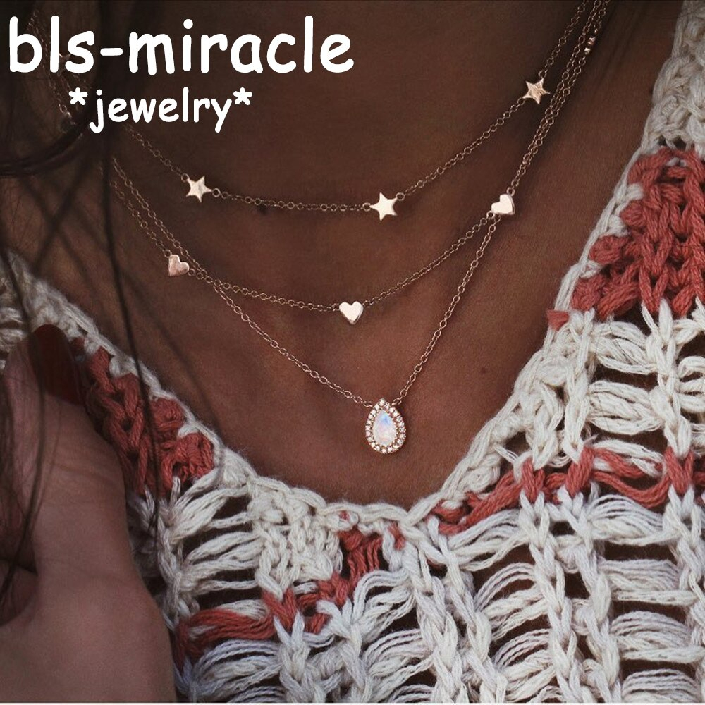 Us $1.19 40% Off|Boho Multi Layer Water Droplet Crystal Pendant Necklaces  For Women Fashion Gold Color Star Heart Charm Chains Necklace Jewelry In In Best And Newest November Droplet Pendant Necklaces (Gallery 19 of 25)