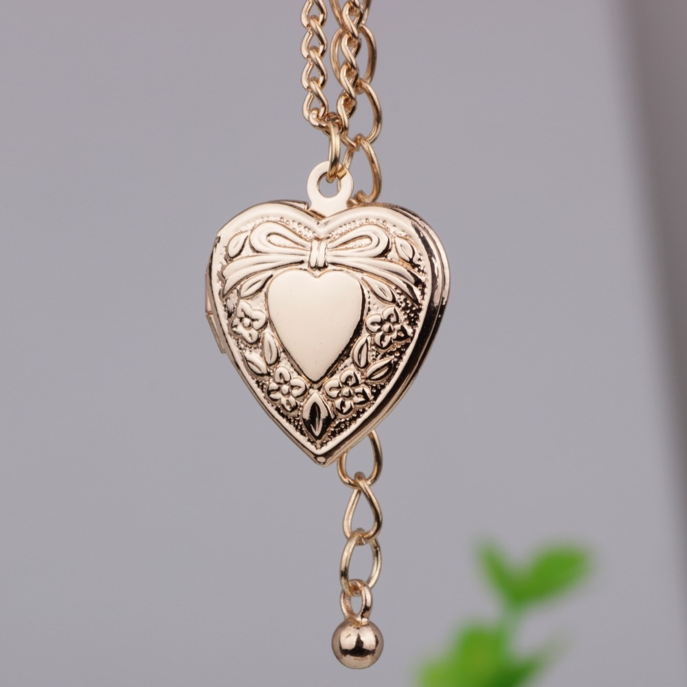 Us $1.53 16% Off|Bow Knot Photo Frame Heart Pendant Necklace Creative Can  Put Photo Open And Close Necklaces Jewelry For Women Yp2726 In Pendant Inside Most Popular Knotted Heart Pendant Necklaces (Gallery 6 of 25)