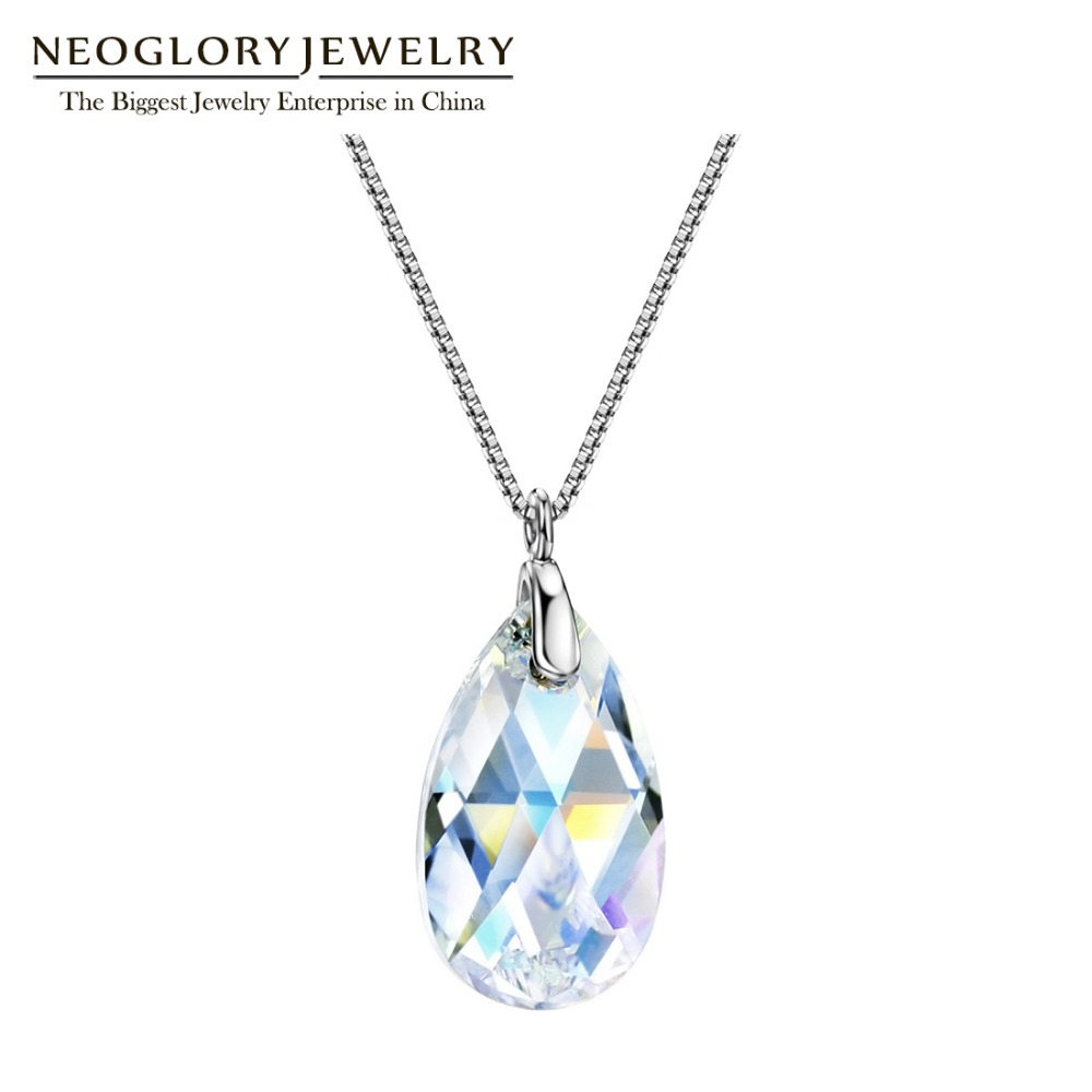 Us $12.0 43% Off|Neoglory S925 Silver Teardrop Necklace Simple Water Droplet Crystal Fashion Chain Necklace&pendant Jewelry Brand New Gift Mc In For Most Recent August Droplet Pendant Necklaces (Gallery 17 of 25)