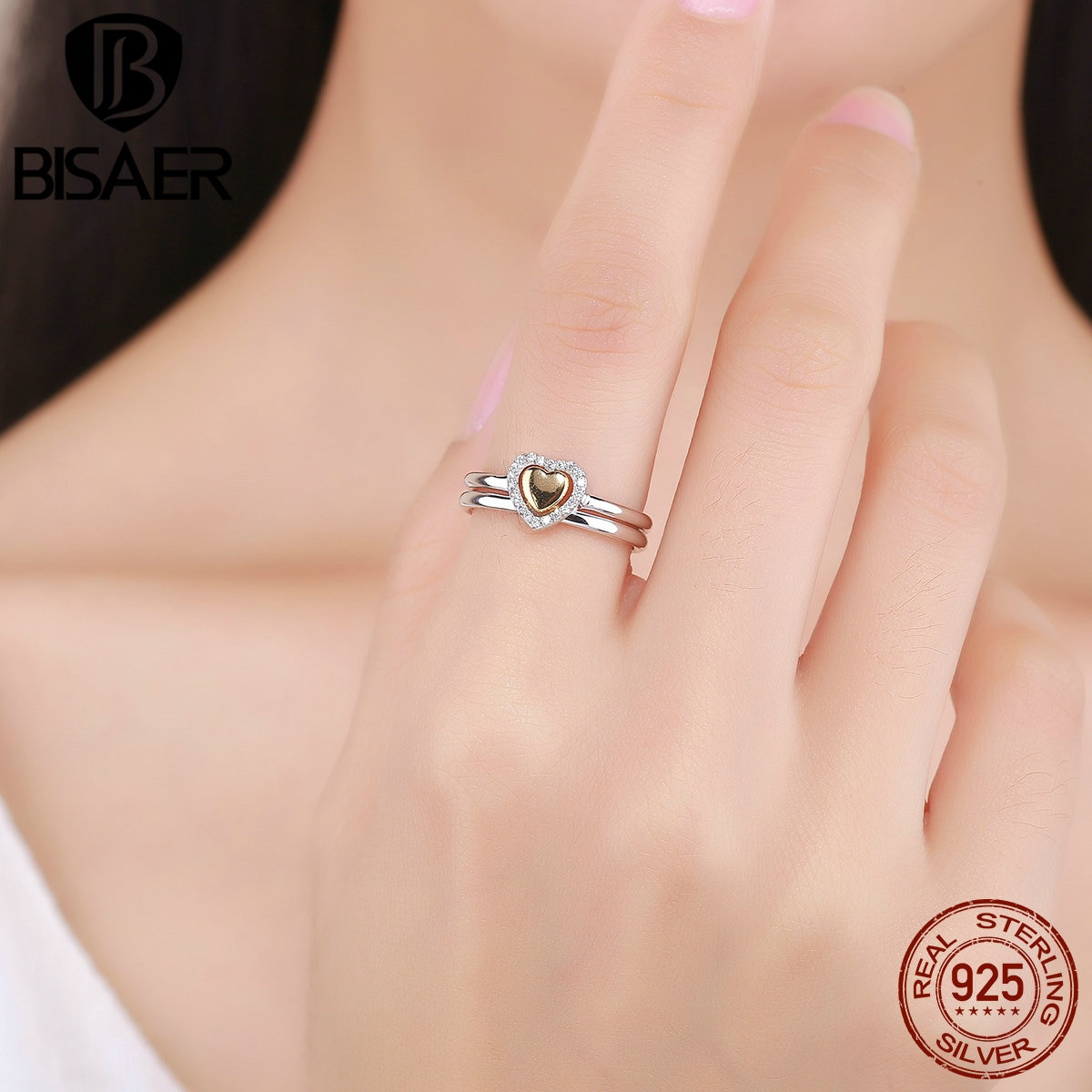 Us $12.21 |2Pcs 100% 925 Sterling Silver Heart Of Gold Puzzle Ring Stack  Finger Rings For Women Engagement Jewelry Valentine's Day Gift In  Engagement Inside Most Popular Pavé Puzzle Heart Rings (Gallery 11 of 25)