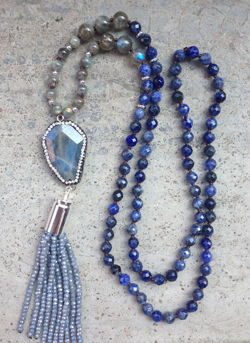 Us $14.5 |Ya2261 Labradorite Pave Crystal Pendant Beads Tassel Bullet  Sodalite Labradorite Beads Knot Beads Handmade Necklace 30Inch Long In  Pendant With Best And Newest Beads & Pavé Necklaces (Gallery 14 of 25)