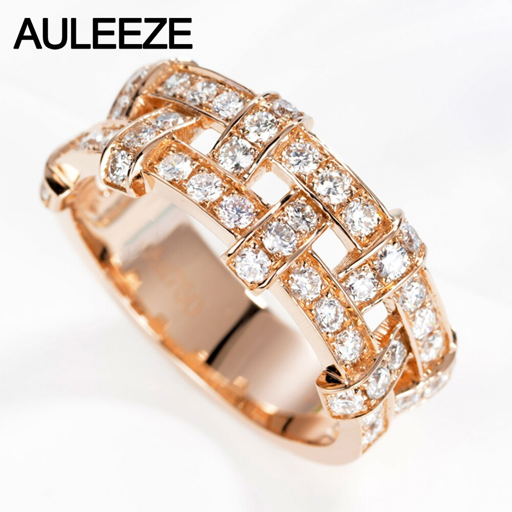Us $1436.0 |Auleeze Unique Luxury Natural Diamond Wedding Ring Natural  Diamond Anniversary Band 18K 750 Rose Gold Valentine's Day For Women In  Rings Within Current Diamond Anniversary Bands In Rose Gold (Gallery 21 of 25)