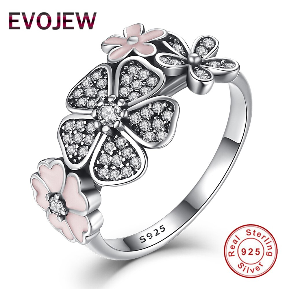 Us $15.38 |Real 100% 925 Sterling Silver Enamel Daisy Statement Ring  Sparkling Cz Crystal Flower Rings For Women Engagement Wedding Jewelry In With 2018 Sparkling Daisy Flower Rings (Gallery 4 of 25)