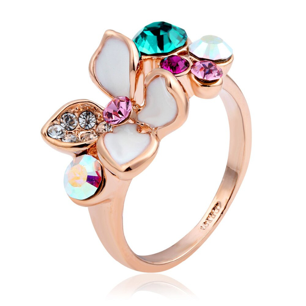 Us $2.39 40% Off|four Petal Flower Rainbow Colorful Austria Crystal Ring For Women Female Bijoux Jewelry Size 5 7.5 (View 12 of 25)
