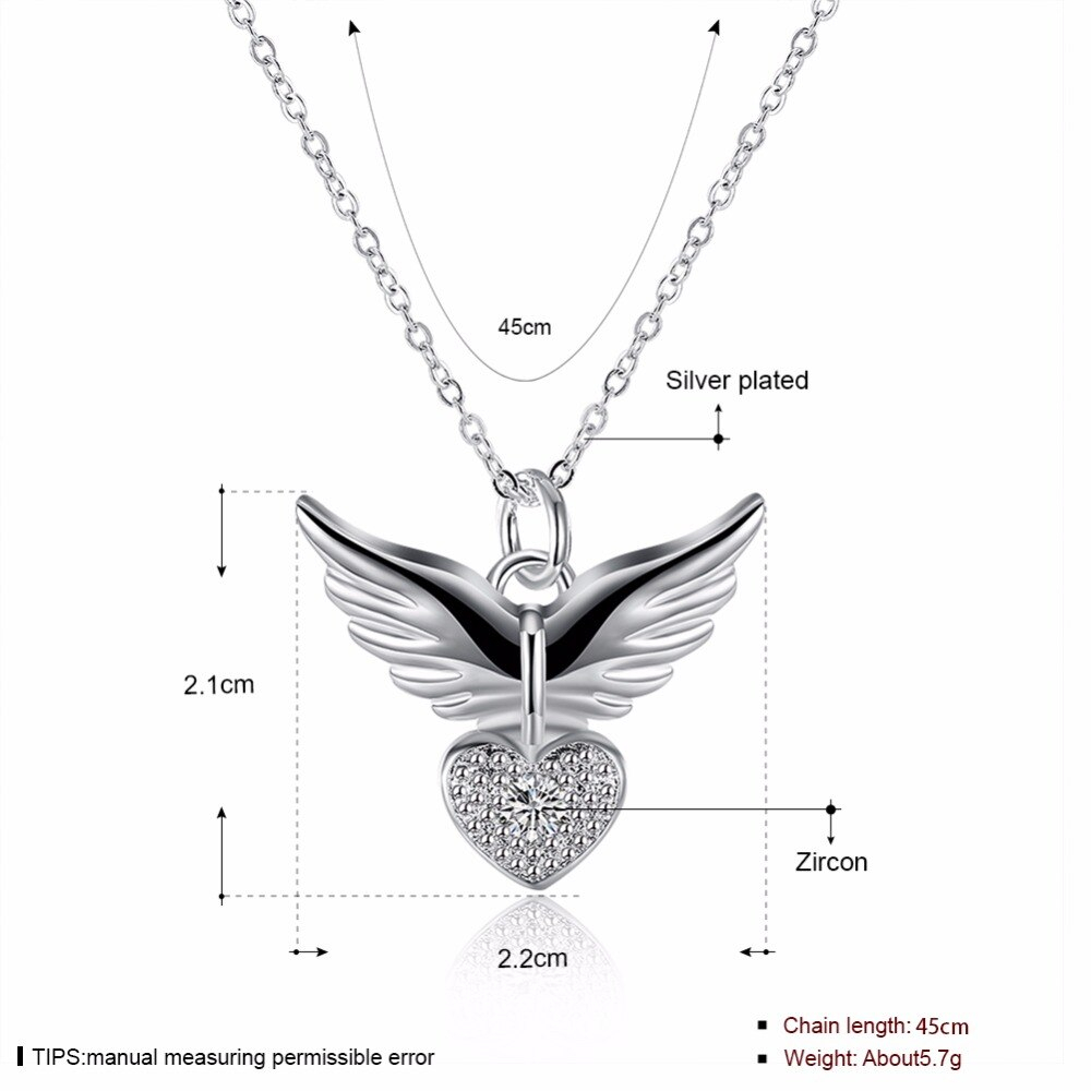 Us $2.44 30% Off|2018 New Love Heart Angel Wing Cz Silver Color Pendant  Necklace Inlay Genuine Element Austrian Crystal Silver 925 Jewelry In  Pendant Inside Newest Pavé Angel Wing Locket Element Necklaces (Gallery 6 of 25)