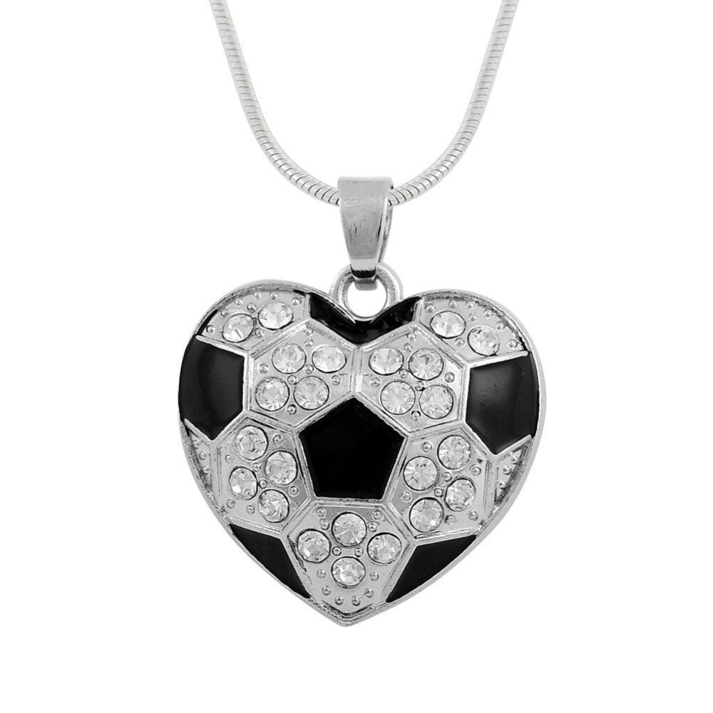 Us $2.76 35% Off|My Shape Soccer Ball Crystal Black Enamel Heart Shaped  Pendant Snake Chain Necklace Sports Fan Jewelry Football In Pendant  Necklaces With 2019 Heart Fan Pendant Necklaces (Gallery 9 of 25)