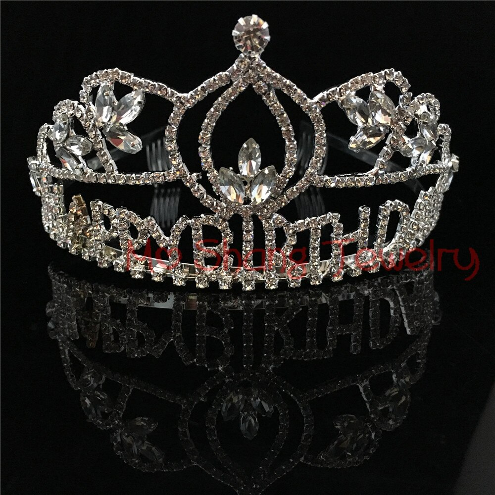 Us $22.59 |Glücklich Geburtstag Tiara Crown Weiß Strass Versilbert Fit Alle  Souvenirs Geburtstag Event Schmuck Zubehör Geburtstagsgeschenke In Inside Most Up To Date Tiara Crown Collier Necklaces (Gallery 8 of 25)