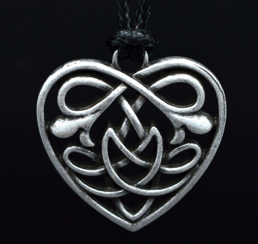 Us $25.0 |10Pcs Handmade Celtics Knot Heart Pendant Necklace Antique Silver Norse Viking Heart Pendant Necklace In Pendant Necklaces From Jewelry & Intended For Most Recent Knotted Heart Pendant Necklaces (Gallery 8 of 25)