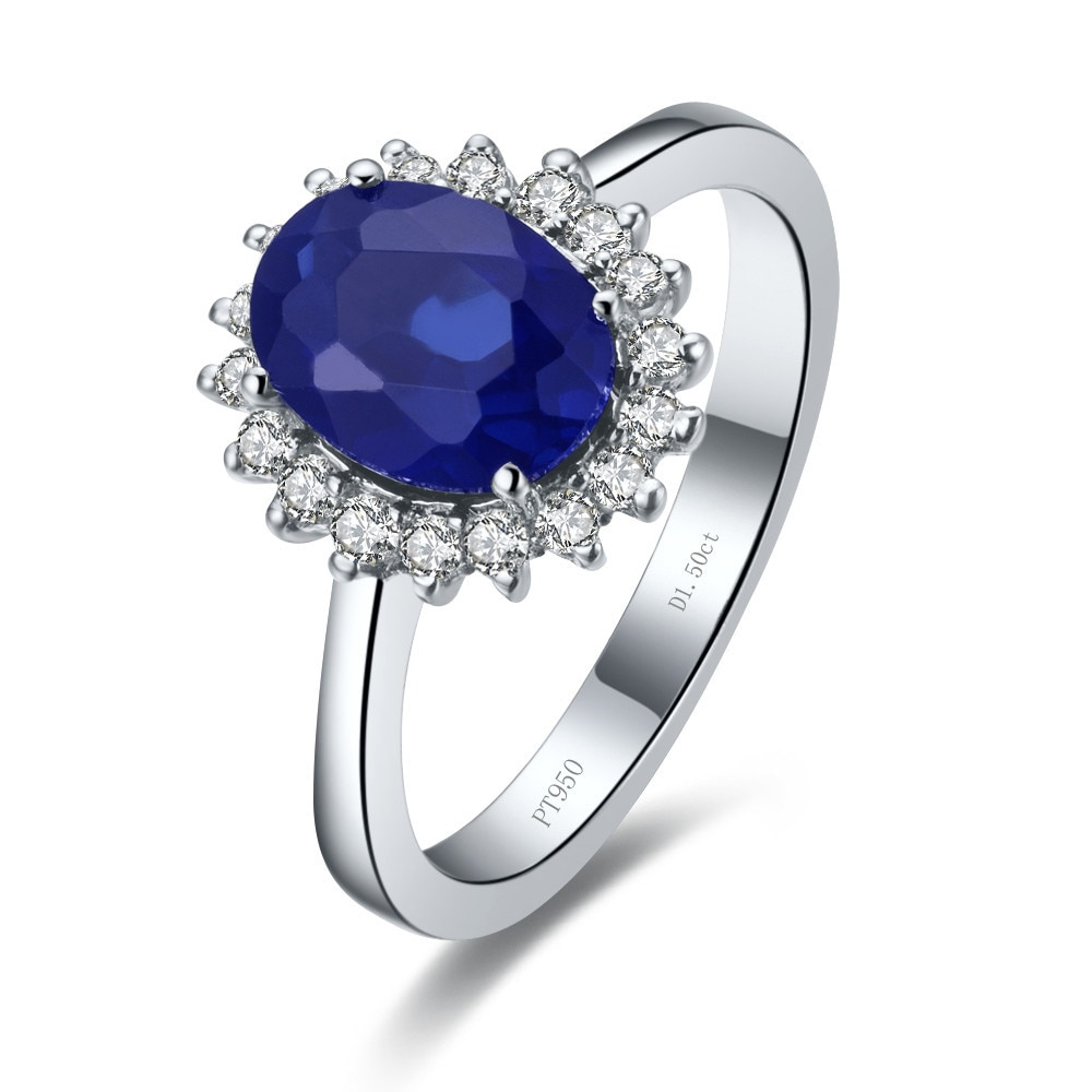 Us $251.6 15% Off|Solid 14K White Gold 1.5Ct Oval Shape Halo Style  Excellent Color And Clarity Enhanced Simulates Sapphire Wedding Ring In  Rings From Regarding Most Current Enhanced Blue And White Diamond Anniversary Bands In White Gold (Gallery 24 of 25)