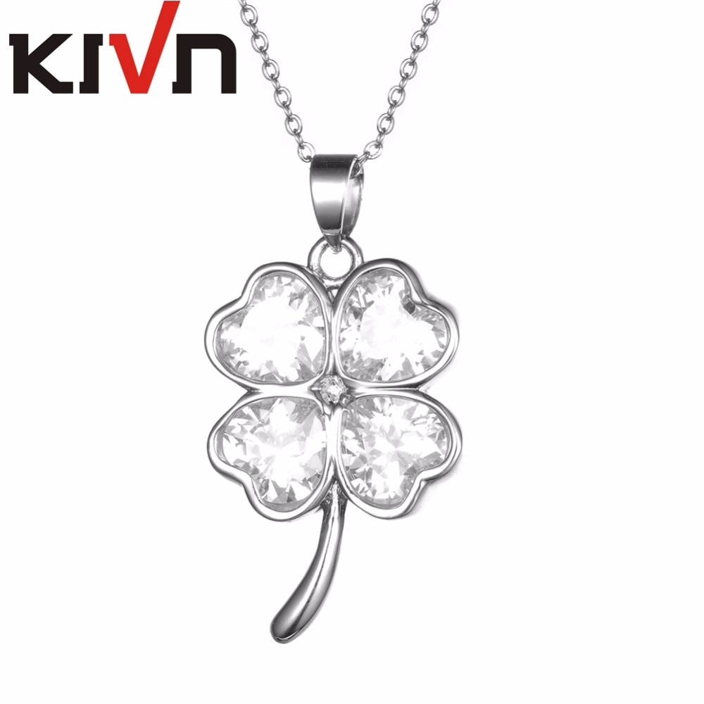 Us $32.58 23% Off|Kivn Jewelry Lucky Four Leaf Clover Green Cubic Zirconia  Womens Girls Bridal Wedding Necklaces Birthday Gifts 6Pcs Wholesale In In Recent Lucky Four Leaf Clover Locket Element Necklaces (Gallery 6 of 25)