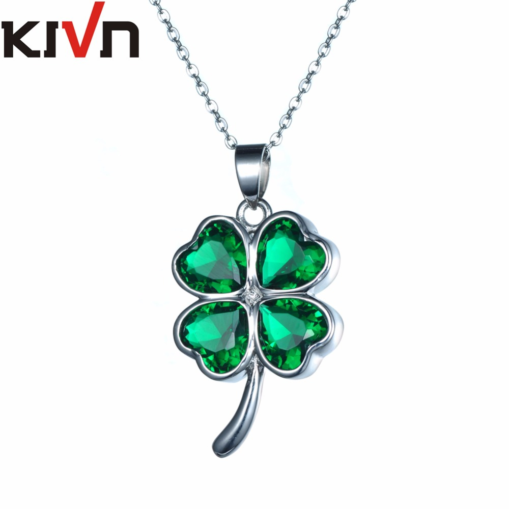 Us $32.58 23% Off|Kivn Jewelry Lucky Four Leaf Clover Green Cubic Zirconia  Womens Girls Bridal Wedding Necklaces Birthday Gifts 6Pcs Wholesale In Intended For Most Recent Lucky Four Leaf Clover Locket Element Necklaces (Gallery 2 of 25)
