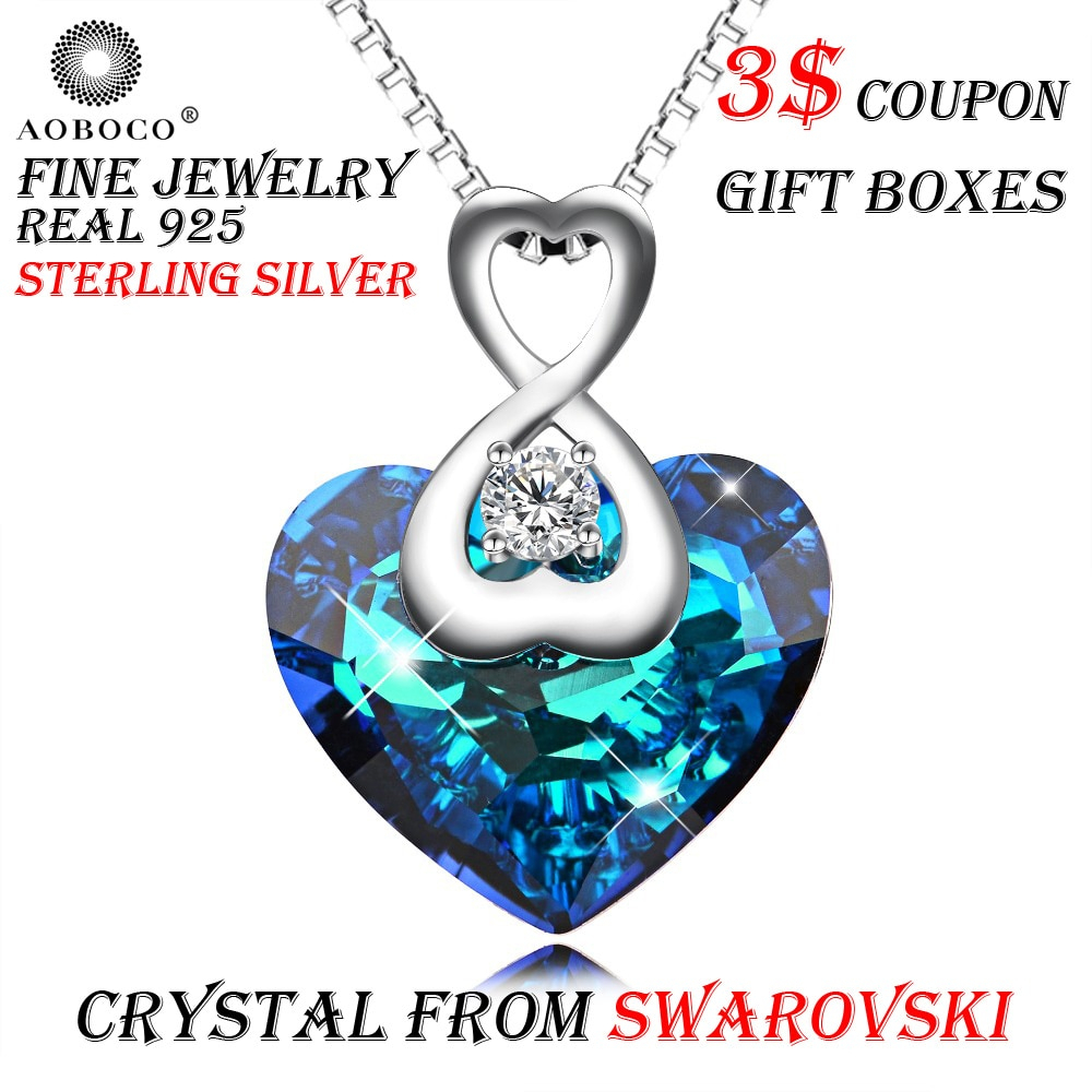 Us $32.79 18% Off|Aoboco Brand Sweet Bow Knot Heart Pendant Necklace For  Women Girl Crystal From Swarovski Top Quality Fine Jewelry Gift Boxes In For Most Recent Knotted Heart Pendant Necklaces (Gallery 5 of 25)