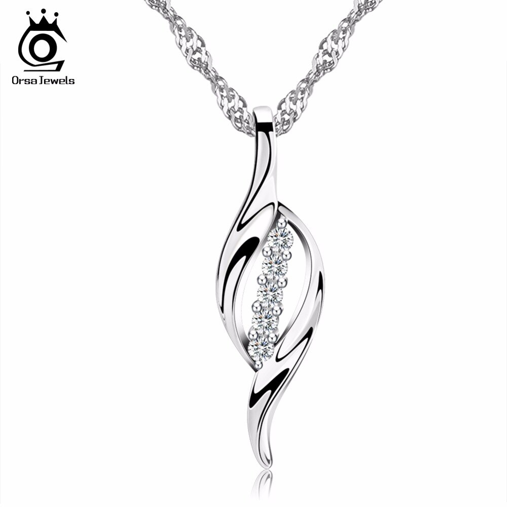Us $4.35 40% Off|Orsa Jewels Lead&nickel Free Silver Color Leaf Pendant Paved 5 Pecs Shiny Cz Crystal Women Necklace Jewelry Free Chain 44Cm On10 In Inside Most Popular Shining Leaf Pendant Necklaces (Gallery 1 of 25)