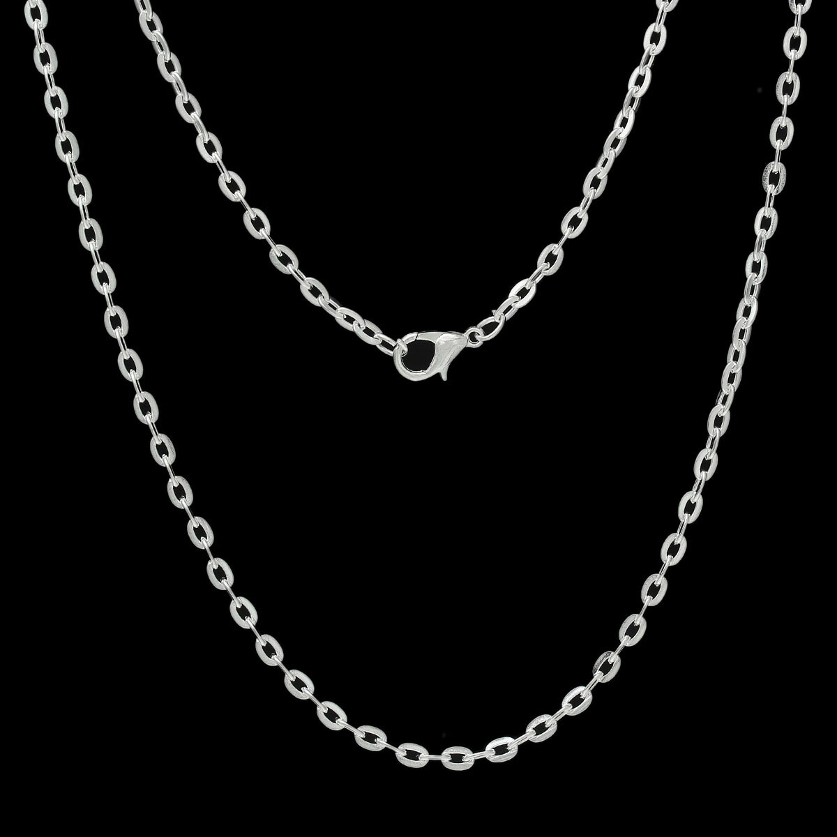Us $4.53 22% Off|8Seasons Jewelry Necklace Silver Color Lobster Clasp Flat Link Opened Cable Chains (View 2 of 25)