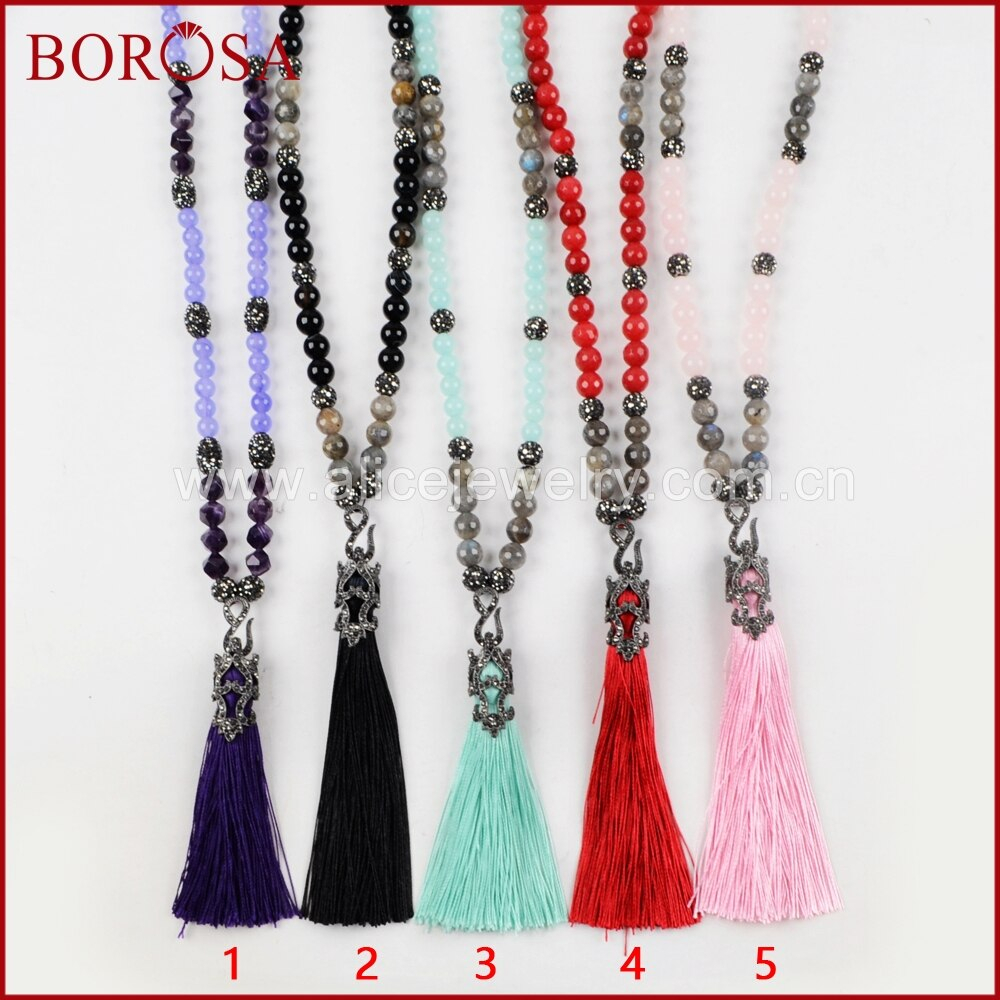 Us $43.61 11% Off|Borosa Handmade Multi Kind Natural Stone 10Mm Beads Rhinestone Pave Gems With Thread Tassel Pendant Necklace Druzy Jewelry Jb764 In With Regard To Most Up To Date Beads & Pavé Necklaces (Gallery 10 of 25)