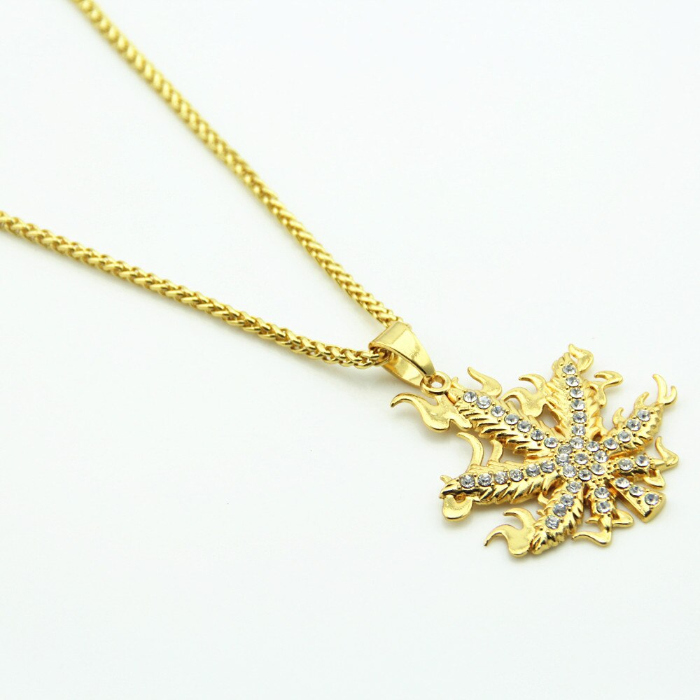 Us $5.74 |Fashion Golden Color Weed Leaf Pendant Necklace Shiny Crystal  Cute Style Pendant Necklace Snake Chain Hip Hop In Pendant Necklaces From With Regard To Most Popular Shining Leaf Pendant Necklaces (Gallery 8 of 25)