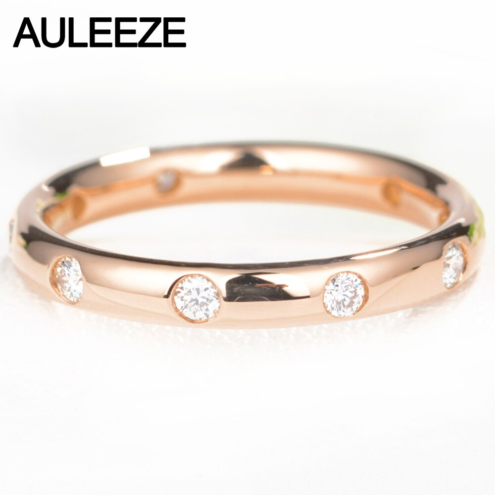 Us $569.0 |Auleeze Classic 18K Gold Real Diamond Wedding Anniversary Band  750 Rose Gold  (View 23 of 25)