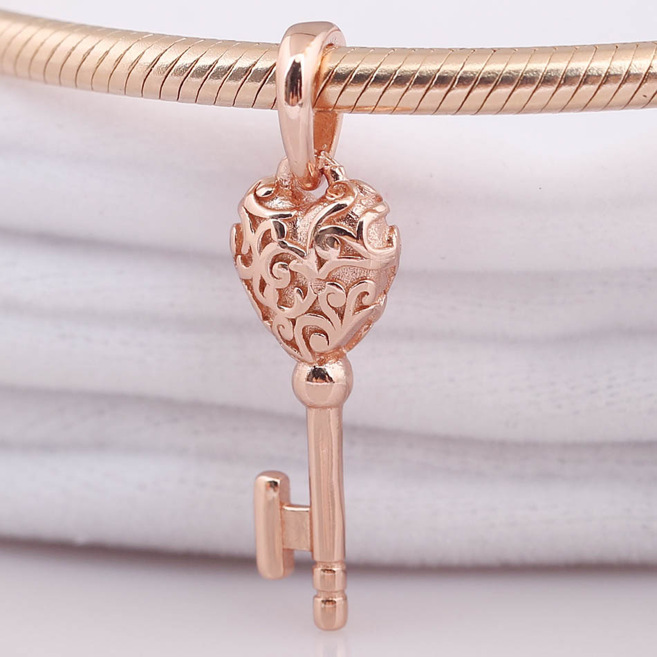 Us $6.53 32% Off|New 925 Sterling Silver Bead Charm Rose Gold Lacework Love  Heart Regal Key Necklace Pendant Fit Pandora Bracelet Diy Jewelry In With Regard To Most Recently Released Regal Key Pendant Necklaces (Gallery 21 of 25)
