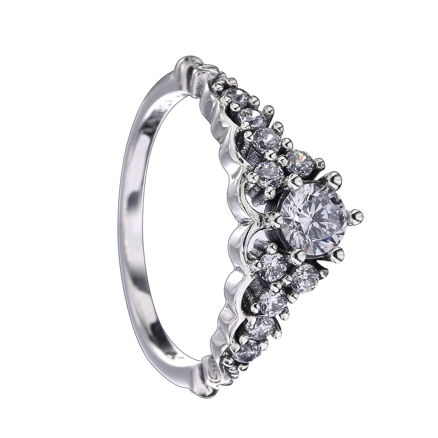 Us $6.92 30% Off|Authentic 925 Sterling Silver Pandora Ring Fairytale Tiara  With Crystal Rings For Women Wedding Gift Jewelry In Engagement Rings From With 2018 Fairytale Tiara Rings (Gallery 7 of 25)