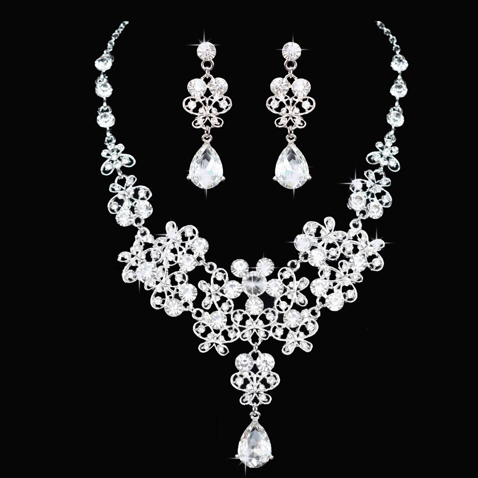 Us $7.99 20% Off|Luxury Crystal Wedding Jewelry Sets For Brides Choker  Necklace + Tiara Crown + Earring Jewelry Sets For Bridals Hair  Accessories In Pertaining To Current Tiara Crown Collier Necklaces (Gallery 21 of 25)