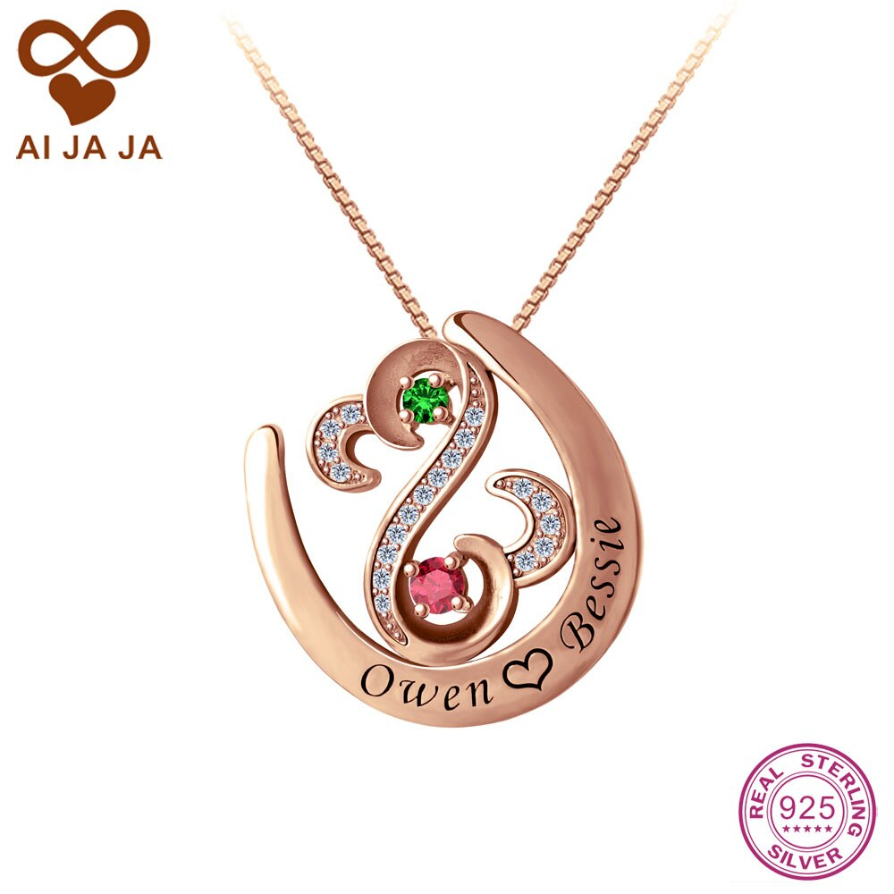 Us $72.0 |Aijaja 925 Sterling Silver Open Heart Necklaces & Pendants  Personalized Birthstones Name Engraved Horseshoe Necklaces Women Gift In  Pendant With Most Popular Open Heart Necklaces (Gallery 17 of 25)