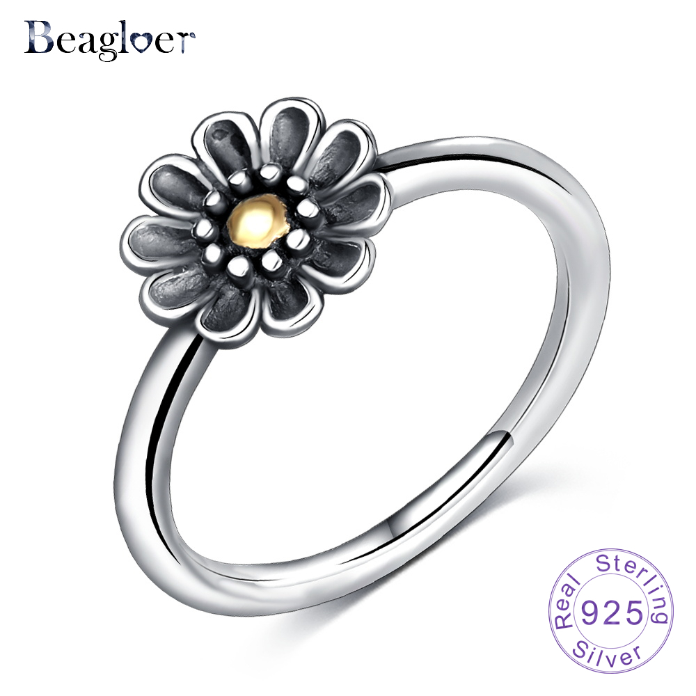 Us $8.55 49% Off|Beagloer 925 Sterling Silver Stackable Ring Dazzling Daisy  Flower Rings For Women Wedding Jewelry Birthday Gift Psri0080 B In Wedding Pertaining To Most Popular Daisy Flower Rings (Gallery 25 of 25)