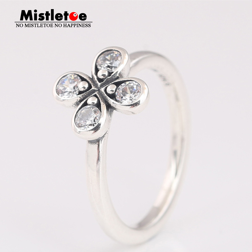 Us $9.42 19% Off|Mistletoe Genuine 925 Sterling Silver Four Petal Flower Ring, Clear Cz European Jewelry In Rings From Jewelry & Accessories On Inside Most Recent Four Petal Flower Rings (Gallery 8 of 25)