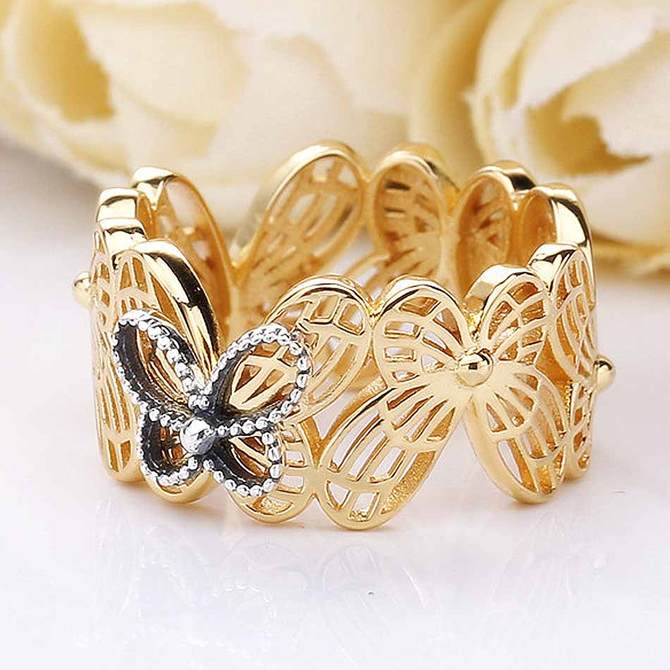 Us $9.74 32% Off|New 925 Sterling Silver Ring Shine Openwork Butterflies  With Crystal Rings For Women Wedding Party Gift Fine Pandora Jewelry In  Rings Throughout Best And Newest Openwork Butterfly Rings (Gallery 2 of 25)