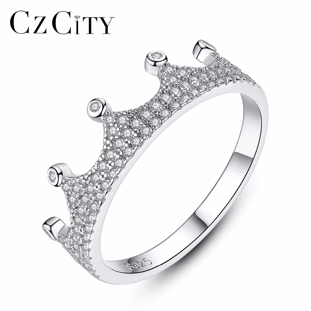 Us $9.8 50% Off|Czcity 925 Sterling Silver Sparkling Crown Stackable Rings  For Women White Zircon Micro Paved Ring Valentine's Day Gift Jewelry In Inside Current Black Sparkling Crown Rings (Gallery 1 of 25)