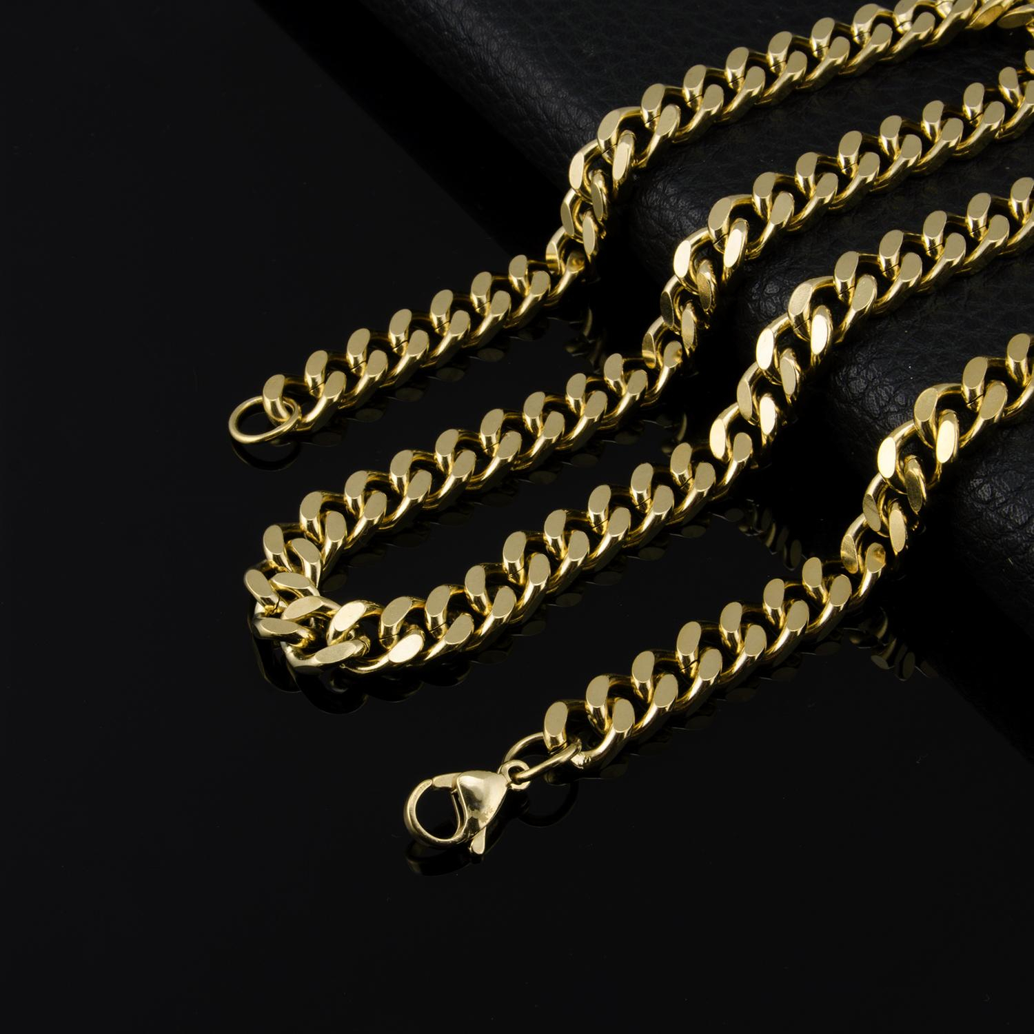 Usenset 10Mm/24Inch Mens Chain Womens Round Cut Curb Chain Necklace Gold  Filled Gf Jewelry Party Daily Wear Silver Necklace Pertaining To Most Up To Date Curb Chain Necklaces (Gallery 24 of 25)