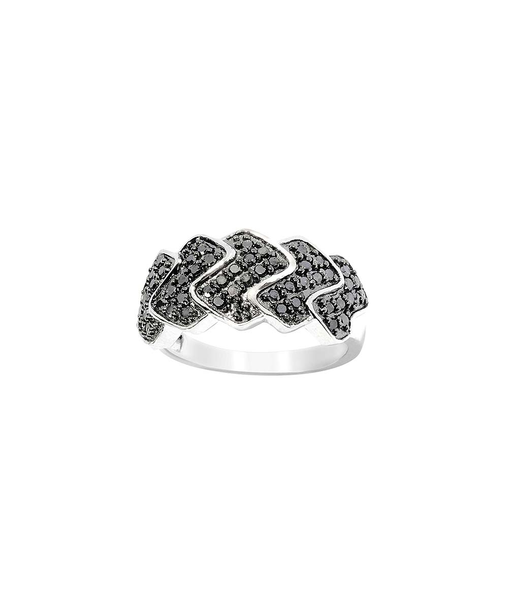 V3 Jewelry® 0.5 Carat Black Diamond & Sterling Silver Zigzag Ring Throughout 2018 Shimmering Zigzag Rings (Gallery 19 of 25)