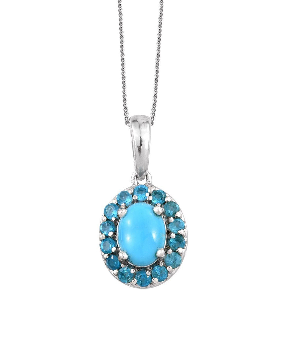 V3 Jewelry® Reconstituted Turquoise & Blue Zircon Halo Oval Pendant Necklace In Latest Oval Sparkle Halo Pendant Necklaces (View 22 of 25)