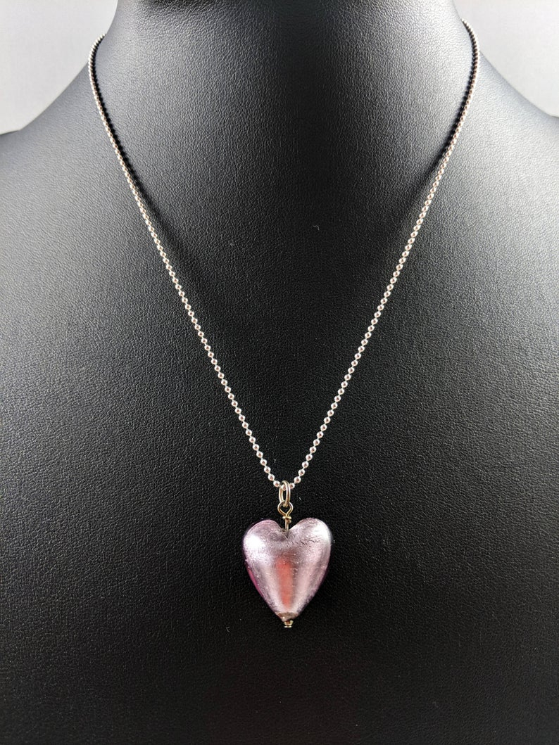 Valentina Jewellery Love Heart Murano Glass Pendant Necklace With Recent Pink Murano Glass Leaf Pendant Necklaces (Gallery 9 of 25)