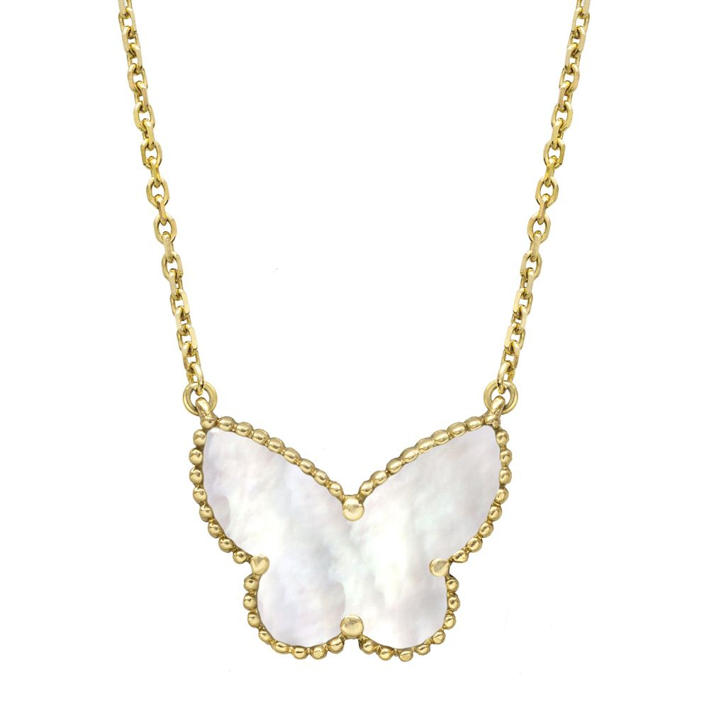 Van Cleef & Arpels Lucky Alhambra Butterfly Pendant On Chain | Van Inside Latest Pink Pavé Butterfly Collier Necklaces (View 5 of 25)