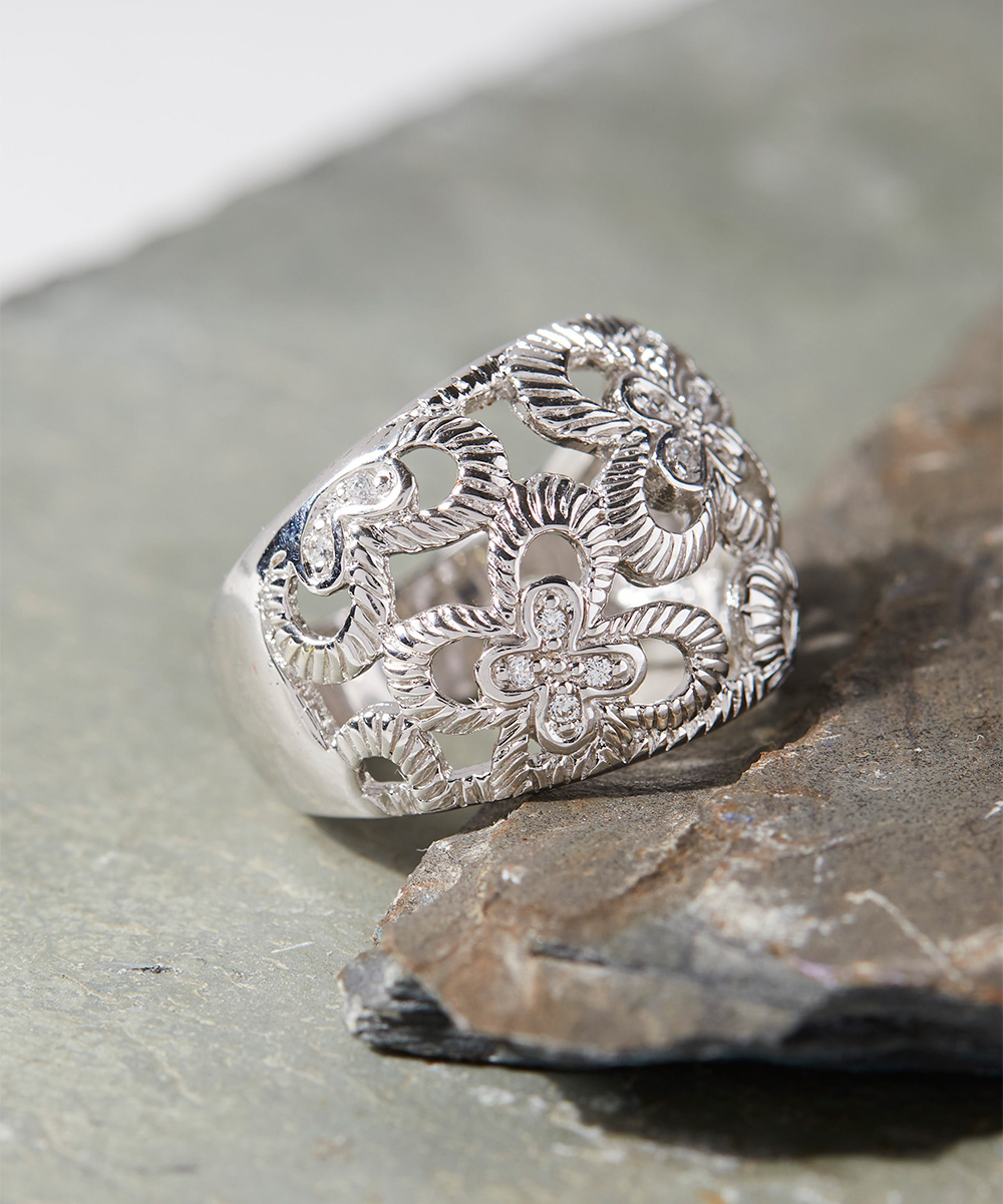 Vco Cubic Zirconia & Sterling Silver Openwork Butterfly Ring Inside Latest Openwork Butterfly Rings (Gallery 7 of 25)