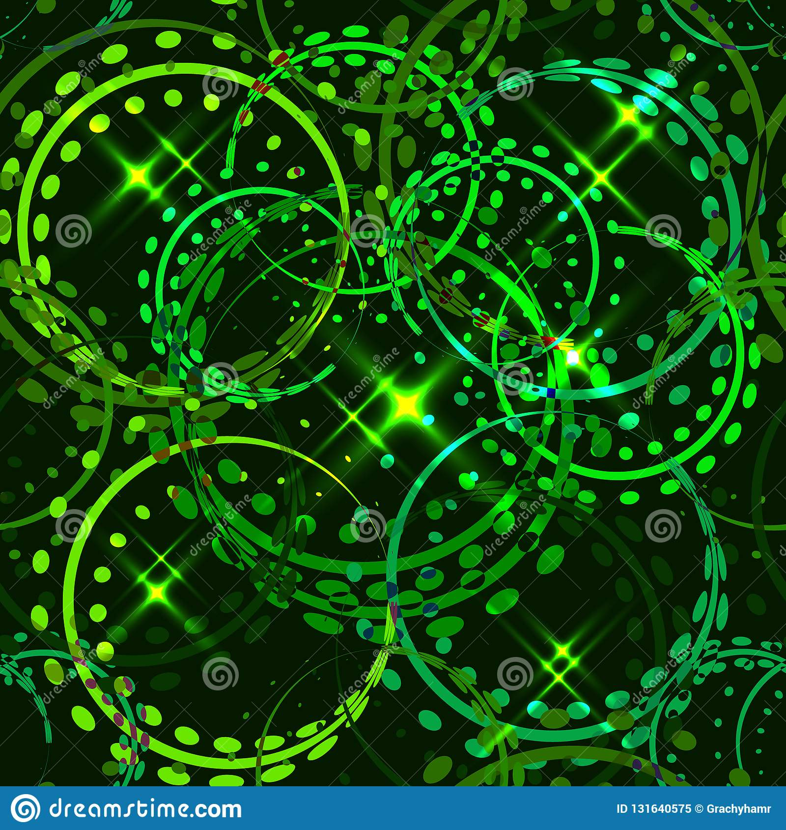 Vector Metallic Stars And Rings In Green Hues On A Sparkling With Best And Newest Sparkling Pattern Rings (View 2 of 25)
