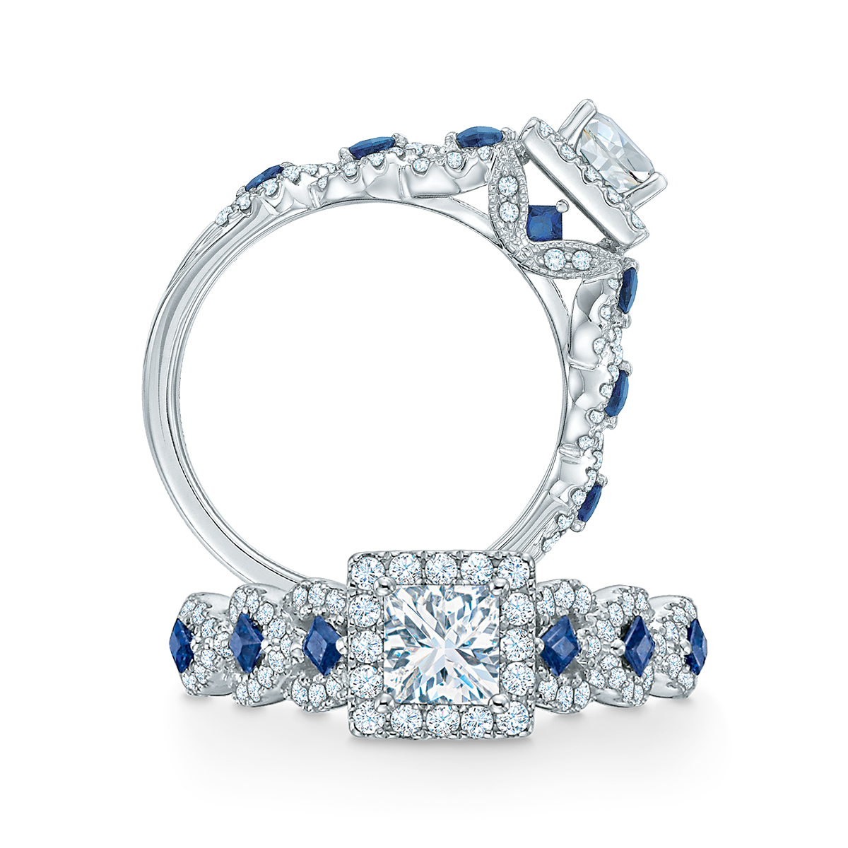 Vera Wang Love Collection 1 Ct. T.w. Diamond And Blue Within Most Up To Date Diamond Double Frame Anniversary Bands In White Gold (Gallery 20 of 25)