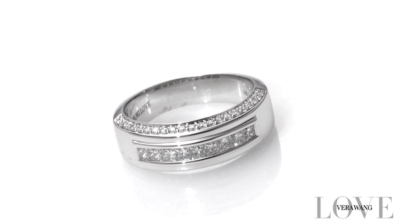 Vera Wang Love Collection Men's 0.95 Ct. T.w. Diamond Nine Stone Wedding  Band In 14K White Gold In Newest Vera Wang Love Collection Diamond Anniversary Bands In White Gold (Gallery 21 of 25)