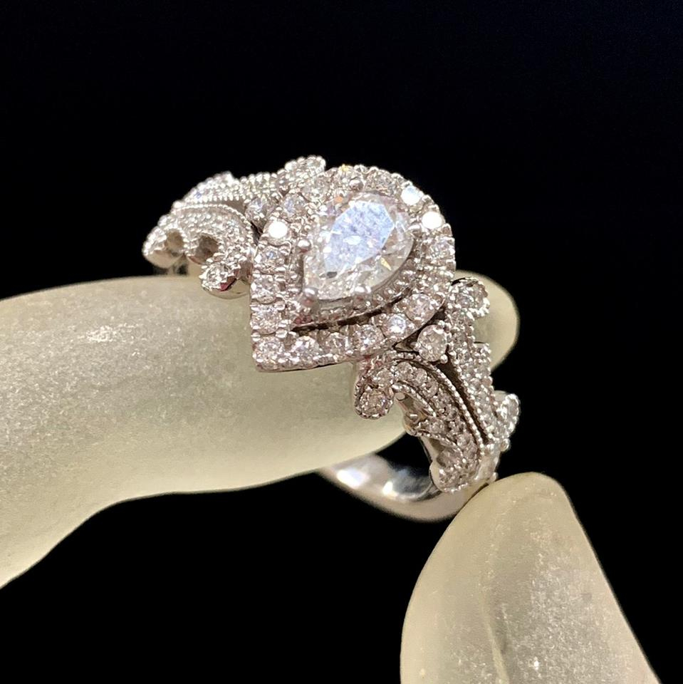 Vera Wang White Gold W Love Collection 1 Ct. T.w. Pear Shaped Diamond Frame  In 14K Engagement Ring 45% Off Retail Regarding Best And Newest Vera Wang Love Collection Diamond Anniversary Bands In White Gold (Gallery 23 of 25)