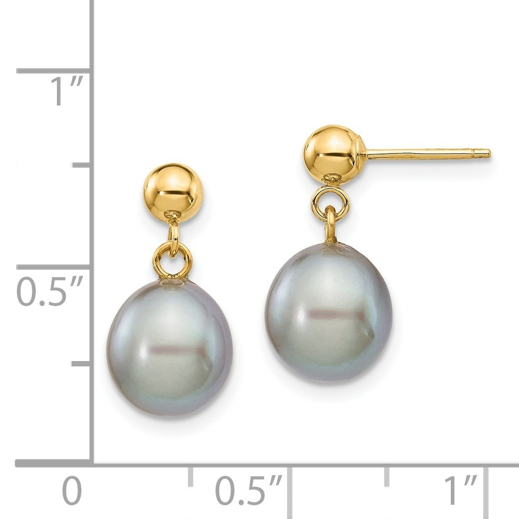 Versil 14 Karat Yellow Gold 8 9Mm Grey Freshwater Cultured Pearl Dangle  Earrings Pertaining To Current Dangling Freshwater Cultured Pearl Rings (View 22 of 25)