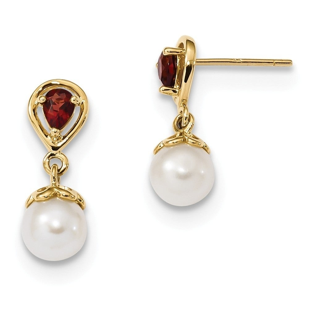 Versil 14 Karat Yellow Gold With Mozambique Garnet And Freshwater Cultured  Pearl Post Dangle Earrings Throughout Latest Dangling Freshwater Cultured Pearl Rings (View 23 of 25)