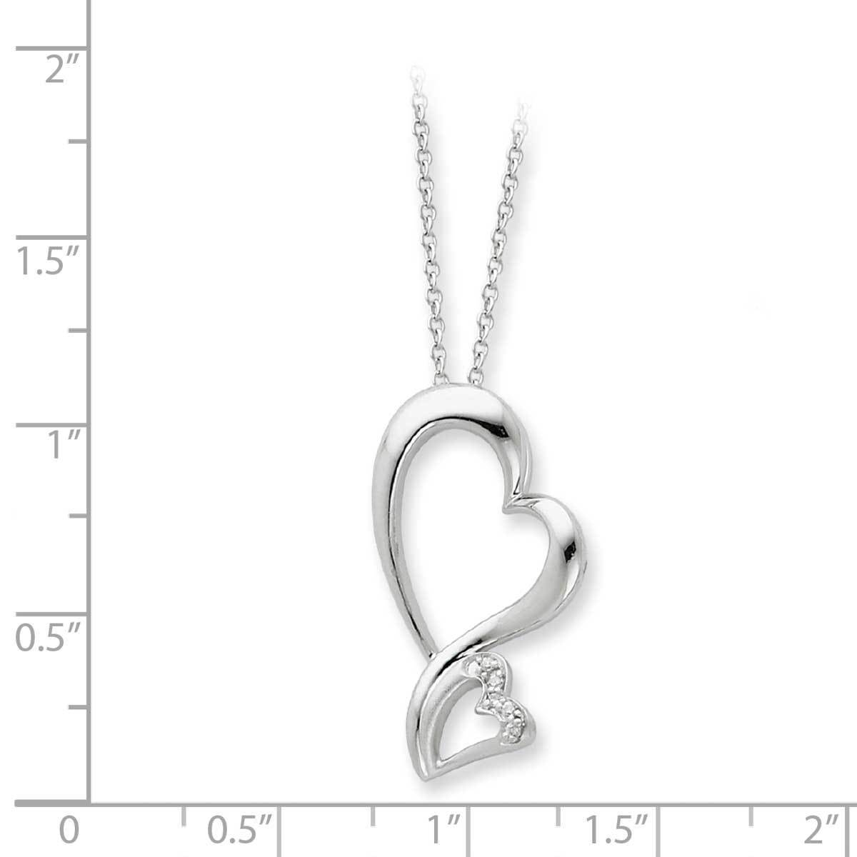 Versil Sterling Silver Cubic Zirconia Protected Heart Necklace Intended For Most Popular Asymmetrical Heart Necklaces (Gallery 3 of 25)