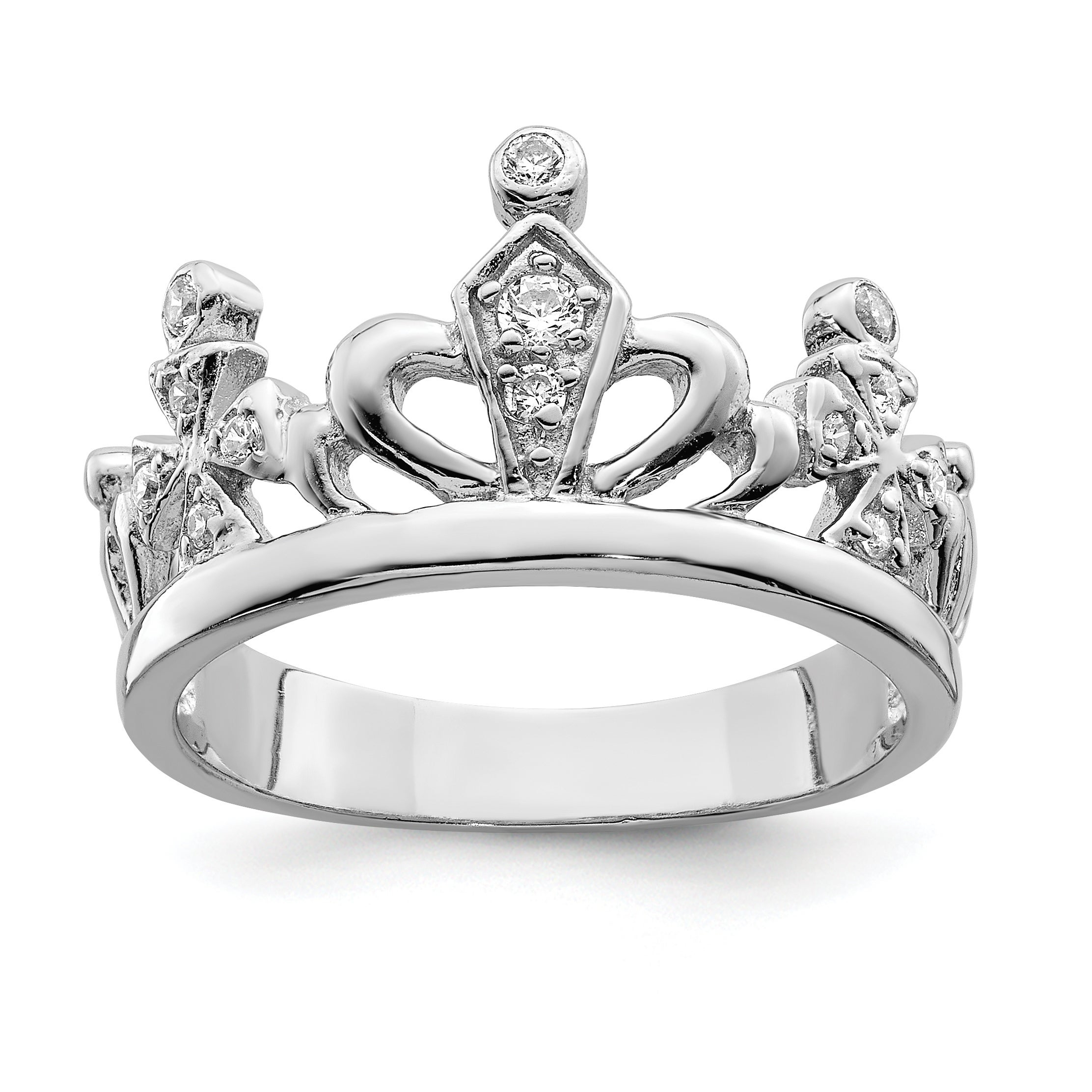 Versil Sterling Silver Cz Crown Ring With Most Current Black Sparkling Crown Rings (View 10 of 25)
