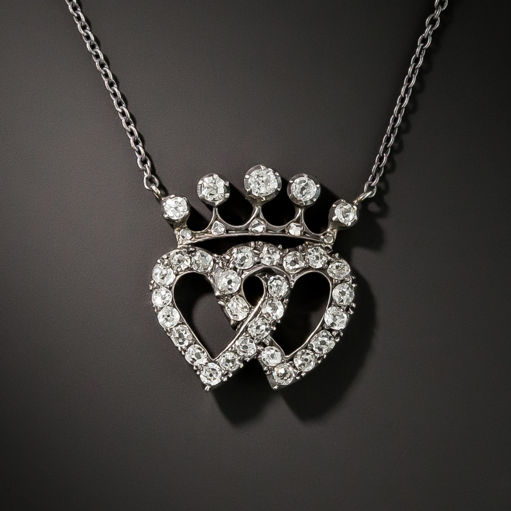 Victorian Diamond Double Heart Pendant Necklace In 2019 | Victorian With Most Popular Crown & Interwined Hearts Pendant Necklaces (Gallery 3 of 25)